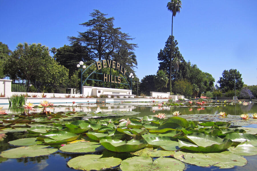 Beverly Hills Sign and Lily Pond at Beverly Gardens Park